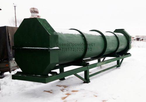 Сушильный барабан (вращающая барабанная печь) для сушки сыпучих материалов щепы, опилок, песка, щебня и т.п.